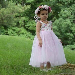 Other - Gorgeous Pink Floral Maxi Tutu Dress-Size 2T